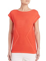 Lafayette 148 New York Ribbed Cap Sleeve Sweater Orange