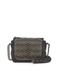 Ash Electra Studded Crossbody Bag Black Gunmetal