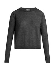 Helmut Lang Raw Edge Cashmere Sweater Dark Grey