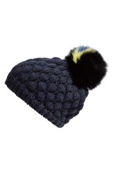 Helene Berman Women's Genuine Fox Fur Pom Knit Beanie