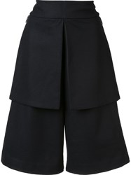 Y 3 Wide Legged Knee Length Shorts Black