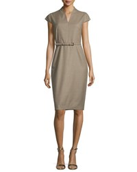 Max Mara Trine Cap Sleeve Belted Sheath Dress Turtle Dove