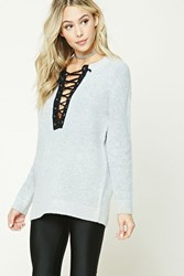 Forever 21 Marled Knit Lace Up Sweater Heather Grey Black