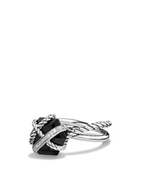 David Yurman Petite Cable Wrap Ring With Black Onyx And Diamonds Black Silver