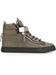Giuseppe Zanotti Design Zip Detail Hi Top Sneakers Grey