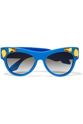Prada Cat Eye Crystal Embellished Acetate Sunglasses Blue