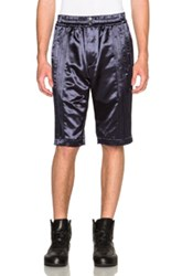 Alexander Wang Glossed Satin Tuxedo Shorts In Blue