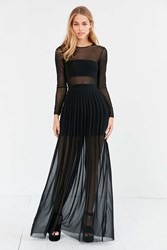 Silence And Noise Katerina Pleated Mesh Maxi Dress Black