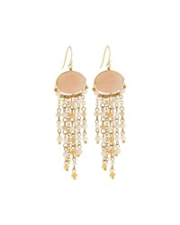 Panacea Golden Stone Fringe Drop Earrings Peach