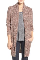 Hinge Marled Long Open Front Cardigan Brown