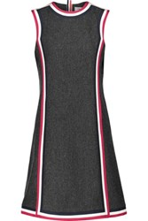Thom Browne Cricket Silk Faille Trimmed Wool Dress Charcoal
