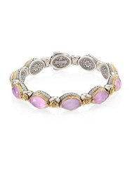 Konstantino Pink Mother Of Pearl Quartz Doublet 18K Yellow Gold And Sterling Silver Bangle Bracelet Violet
