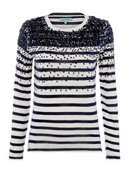 Dickins And Jones Scatter Sequin Embellished Stripe Top Monochrome
