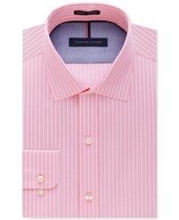 Tommy Hilfiger Men's Slim Fit Non Iron Color Ground Stripe Dress Shirt Pink