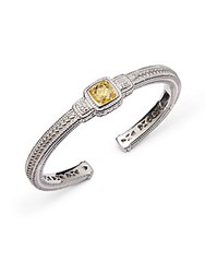 Judith Ripka White Sapphire And Yellow Cubic Zirconia Cuff Bracelet Silver