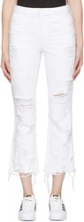 Alexander Wang White Scratch Grind Jeans