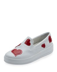 Prada Hearth Embellished Leather Slip On Sneaker White Bianco