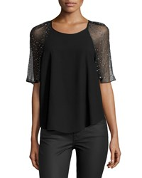 Rebecca Taylor Short Sleeve Embellished Chiffon Trim Black