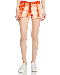 J Brand Low Rise Cutoff Shorts In Tie Dyed Cherry Tomato Tied Cherry Tomato