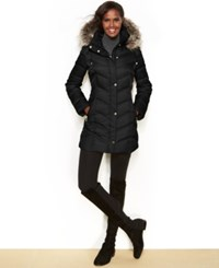 Kenneth Cole Reaction Hooded Faux Fur Trim Quilted Down Puffer Coat Black