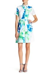 Donna Ricco Short Sleeve Collared Floral Dress Petite Multi