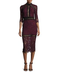 Alexis Marisa Half Sleeve Lace Midi Dress Plum Plum Print