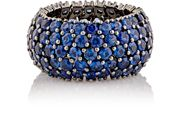 Sidney Garber Women's Blue Sapphire Flexible Domed Band Colorless