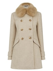 Warehouse Double Breasted Faux Fur Collar Jacket Beige