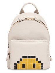 Anya Hindmarch Pixels Smiley Embossed Leather Backpack
