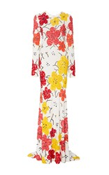 Naeem Khan Beaded Floral Long Sleeve Sheath Gown White Yellow Tangerine
