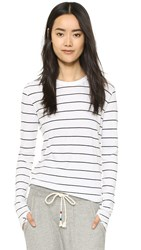 Enza Costa Stripe Crew Top White Black