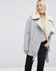 Asos White Wool Biker Jacket With Borg Lining Grey