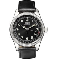 Oris Big Crown Original Pointer Date Stainless Steel And Leather Watch Black