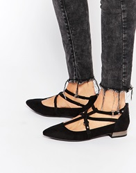New Look Black Ghillie Strap Detail Flat Shoes