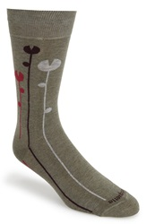 Etiquette Clothiers 'Tulips' Patterned Socks Vintage Green