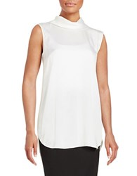 Dkny Silk Button Front Top White