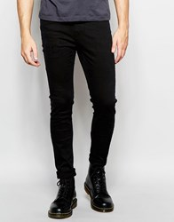 Cheap Monday Jeans Tight Stretch Skinny Fit Black Fusion Distress Repair Black Fusion