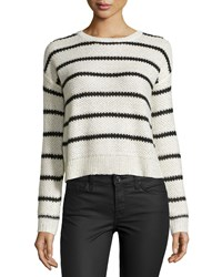 Design History Cropped Striped Sequin Sweater Pearl Black