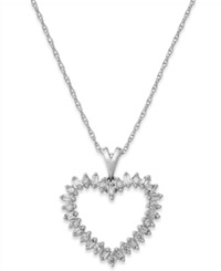 Macy's Diamond Heart Pendant Necklace In 10K White Gold 1 4 Ct. T.W.