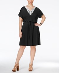 Ing Plus Size Crochet Trim Fit And Flare Dress Black