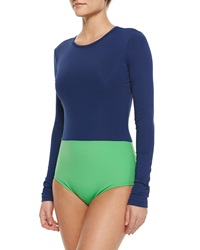 Cover Upf 50 Colorblock Long Sleeve One Piece Swimsuit