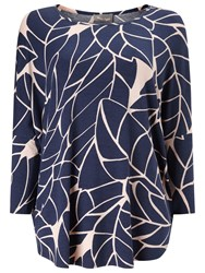 Phase Eight Kelsie Print Jersey Top Navy Toast