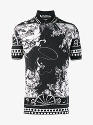 Dolce And Gabbana Cowboy Polo Shirt Black White