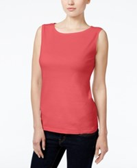 Karen Scott Petite Boat Neck Tank Top Only At Macy's Coral Tile