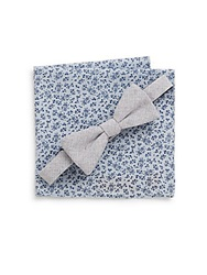 Original Penguin Cotton Bow Tie And Floral Print Pocket Square Set