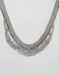 Designb London Statement Necklace Silver Crystal