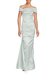 Teri Jon Opulent Off The Shoulder Gown Mint