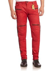 Robin's Jeans Quilted Slim Fit Red Vintage