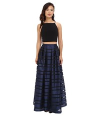 Aidan Mattox Ball Skirt W Illusion Panels And Stretch Halter Top Black Navy Women's Dress