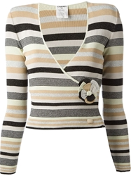 Chanel Vintage Striped Sweater Pink And Purple